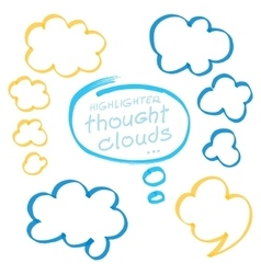 Highlighter thought clouds bubbles design elements vector
