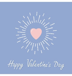 Big pink shining heart happy valentines day card vector