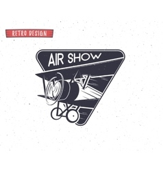 Airshow emblem biplane label retro airplane vector
