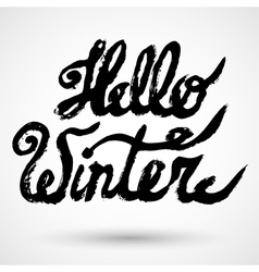 Hello winter text brush lettering card vector