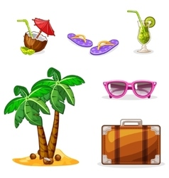 Vacation and travel background set summer symbols vector