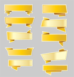 Variety of gold ribbons banners vector