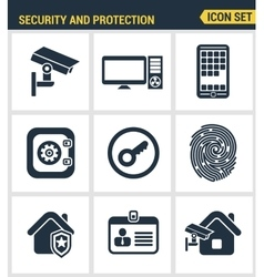 Icons set of premium quality of various security vector