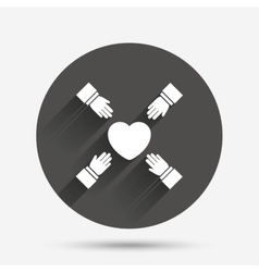 Hands reach for heart sign icon save life vector