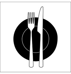 Fork and knife on a plate vector