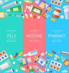 cartoon pharmacy or medicines vertical vector image