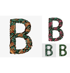Colored floral font vector image