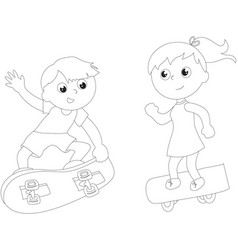 Coloring cartoon skateboarders isolated vector