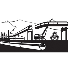 Construction of industrial pipelines vector image