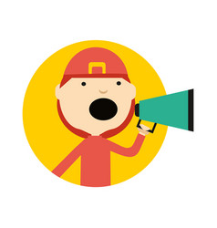 Firefighter in uniform with megaphone icon vector