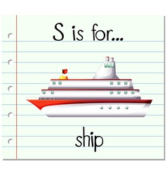 Flashcard letter s is for ship vector