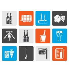 Flat Wine and drink Icons vector image