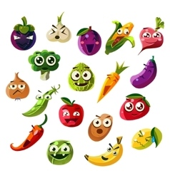 Fruit ands vegetable emoji set vector