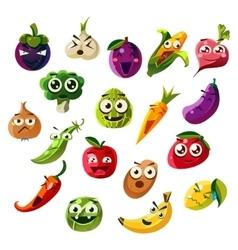 Fruit Ands Vegetable Emoji Set vector image vector image