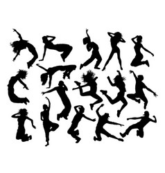 fun breakdance silhouettes vector image
