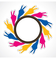 hand show victory sign arrange in round shape vector image vector image