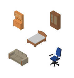 Isometric furniture set of cabinet office couch vector
