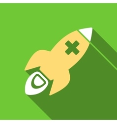 Medical rocket flat long shadow square icon vector