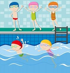 People swimming in the swimming pool vector