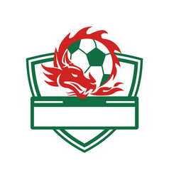 Red dragon soccer ball crest vector