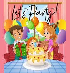 scene with birthday party with family vector image vector image