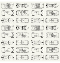 Seamless pattern vintage sports racing cars vector image