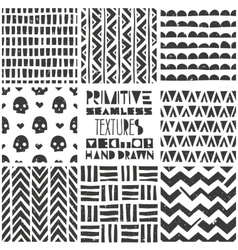 Set of 8 primitive geometric patterns Tribal vector image vector image
