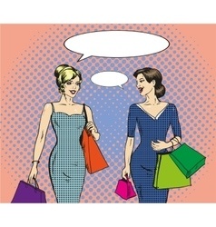 shopping women in retro pop vector image