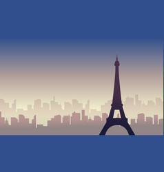 silhouette of city france scenery vector image vector image