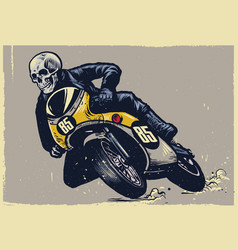 skull riding classic motorcycle texture is easy vector image