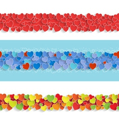 Three Horizontal Seamless Strips with Hearts vector image vector image