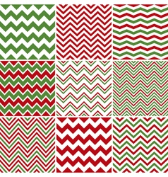 Christmas chevron seamless patterns vector