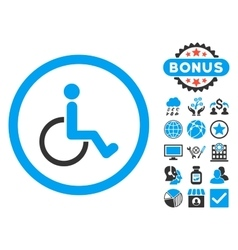 Disabled person flat icon with bonus vector