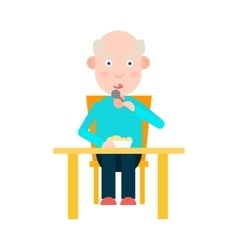 Elderly man eat at the table vector