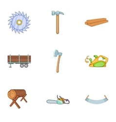 Sawing woods icons set cartoon style vector