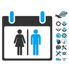 Water closet calendar day icon with bonus vector