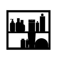 Monochrome shelf with beauty products in bath vector
