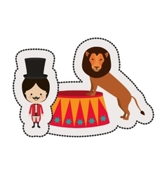 Dotted sticker circus ceremony master with lion vector