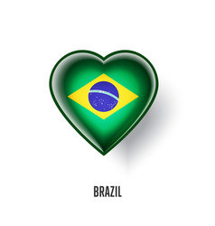Patriotic heart symbol with brazil flag vector
