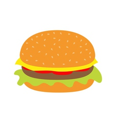 Tasty hamburger icon with meat tomato salad cheese vector