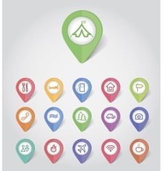 Mapping pins icons travel vector