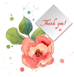 Watercolor greeting card with exotic flowers vector