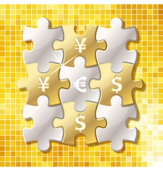 Jigsaw puzzle pieces with currency symbol in words vector