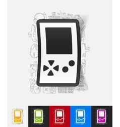 Video game paper sticker with hand drawn elements vector