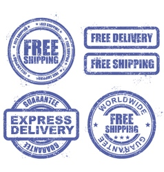 Express delivery and free shipping stamps vector