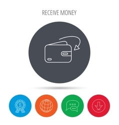 Receive money icon cash wallet sign vector