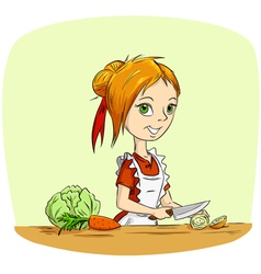 cartoon housewife vector image
