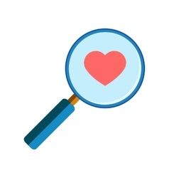 Magnifying glass with red heart vector
