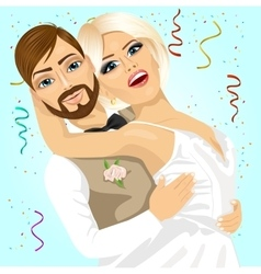 Blonde bride and groom having a romantic moment vector