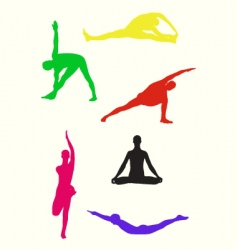 Yoga postures vector image